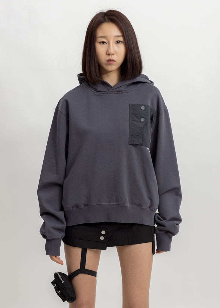 Dark Grey Layer Pocket Logo Hoodie