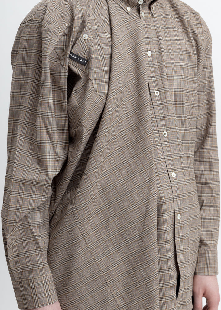 Beige Check Twisted And Fid Shirt