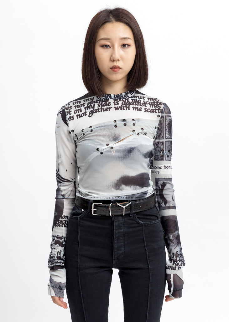 Black And White Pierced Sheer Long Sleeves Top