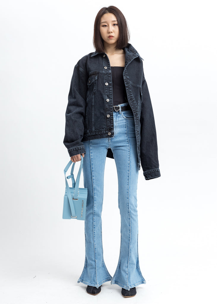 Black Asymmetric Collar Denim Jacket