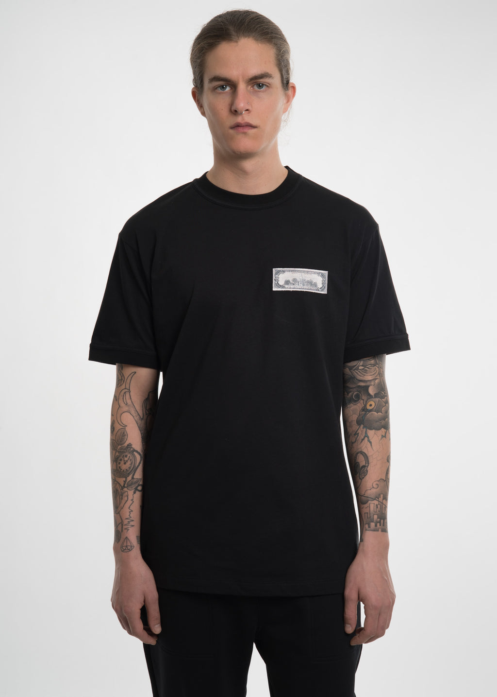 Black Embroidered Dollar T-Shirt