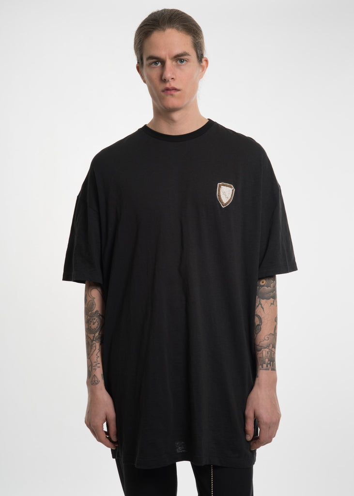 Black Oversized Crest T-Shirt w/ Pearls