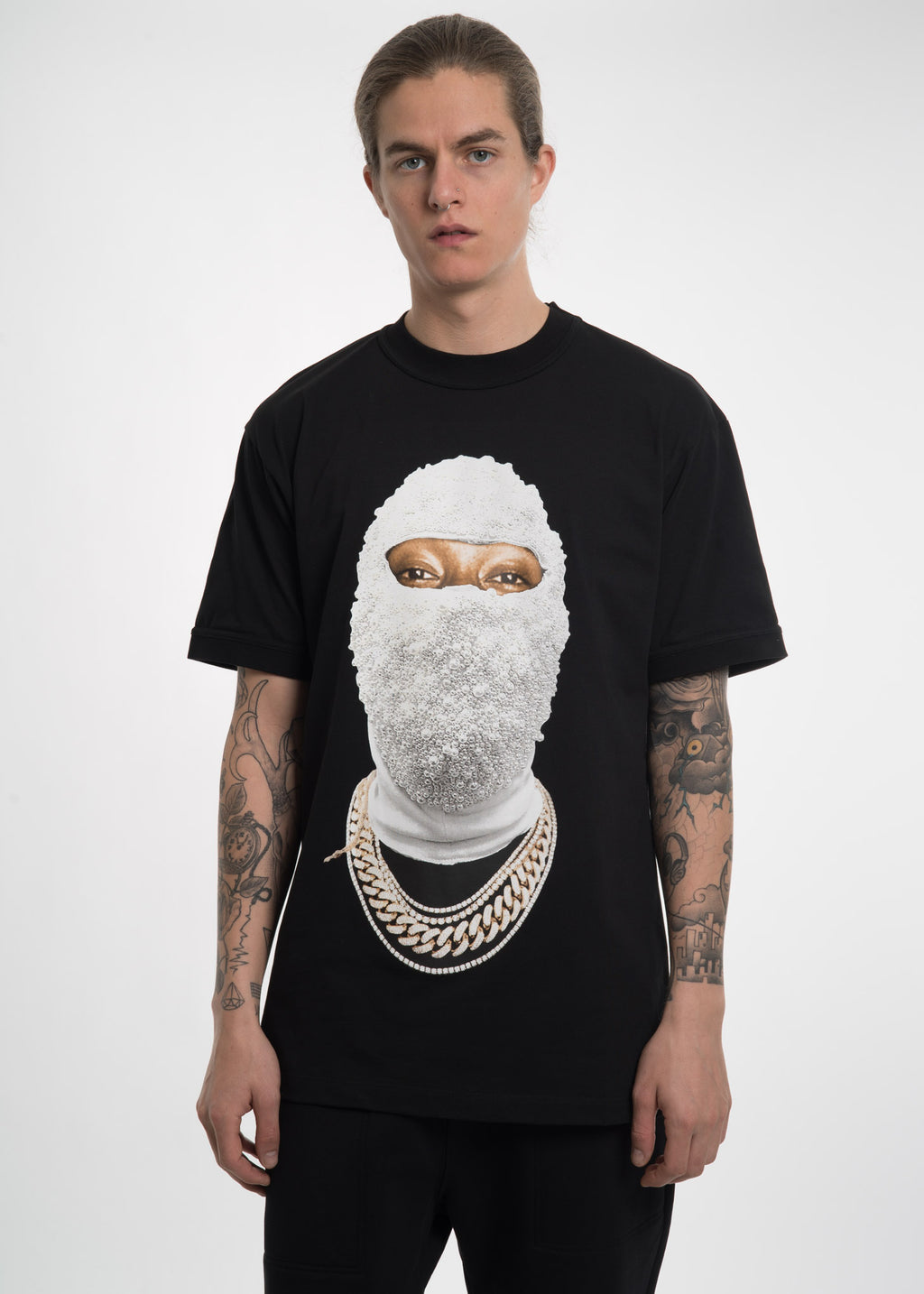 Black Printed Face Gold T-Shirt