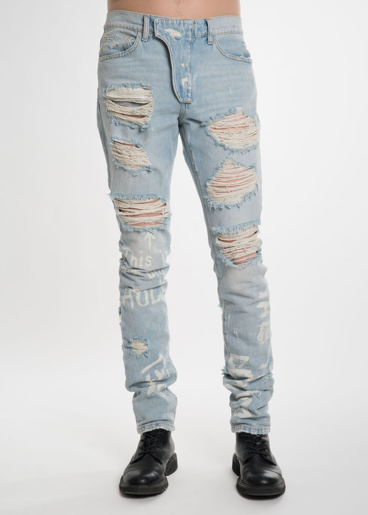 Blue Destroyed Jeans with Print