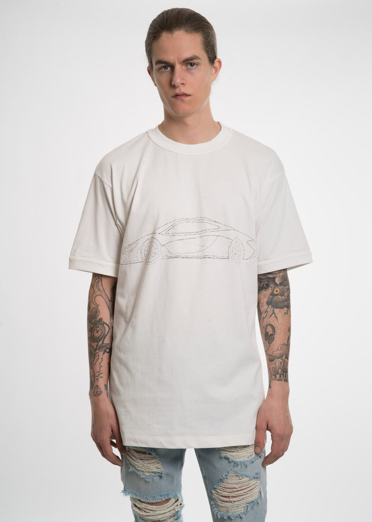 White Car Print T-Shirt