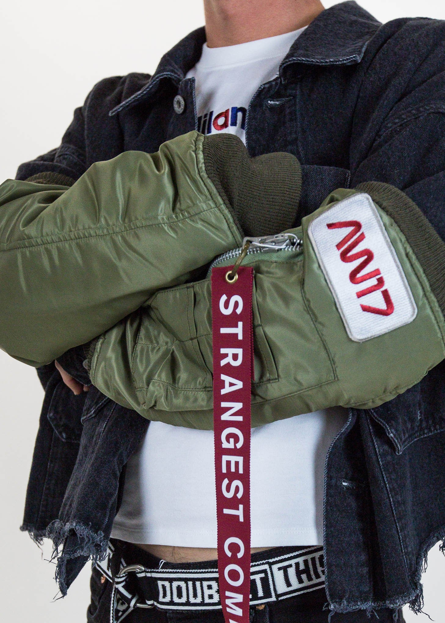Khaki Arm Warmers of Bomber Jacket