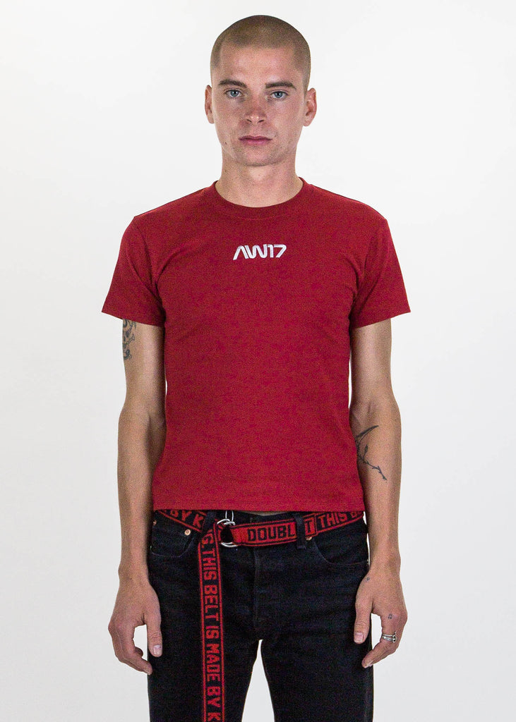 "Red ""AW17"" Embroidery T-Shirt"