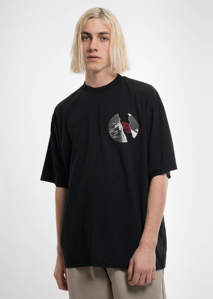 Black Cuts T-Shirt w/ Print 2 Hands