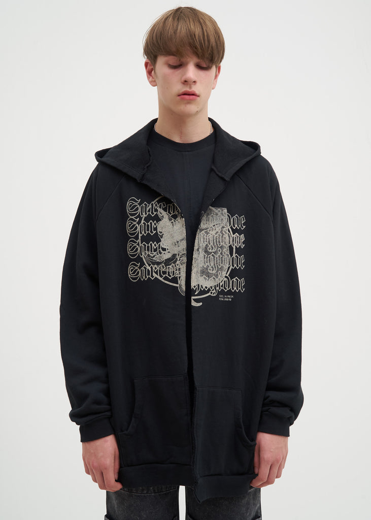 Komakino, Black Reversible Oversized Hoodie, 017 Shop