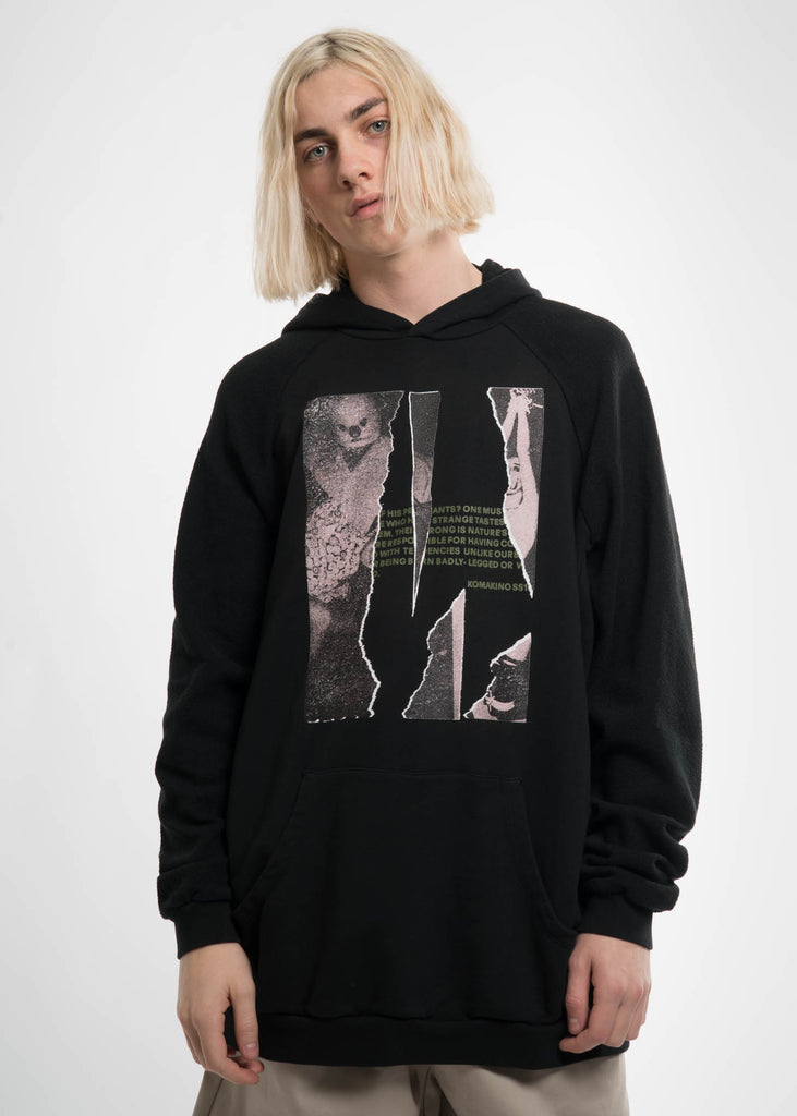 Komakino, Black T Cut Inside-Out Hoodie, 017 Shop