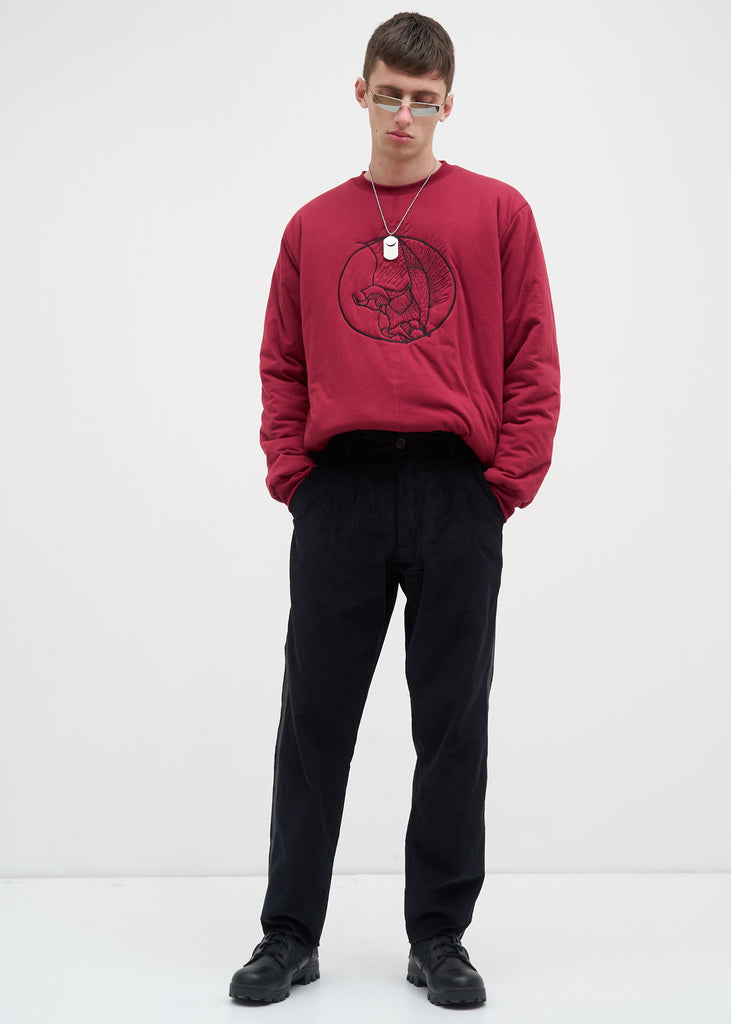 Burgundy Padded Totenfliege Crewneck