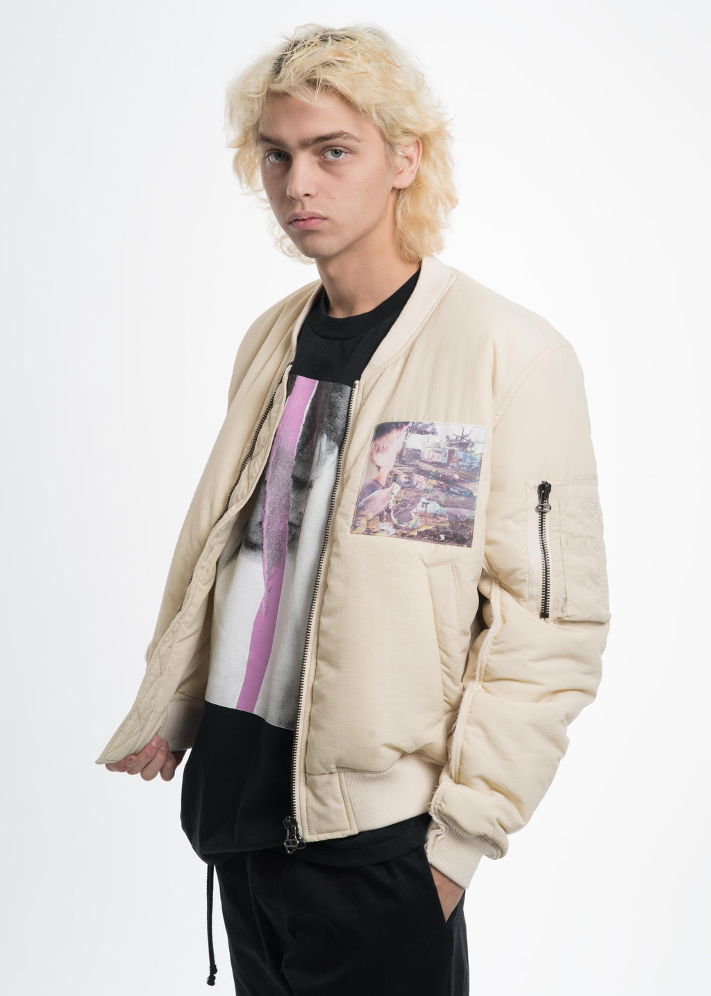 Cream Bomber with Cuts and Patches
