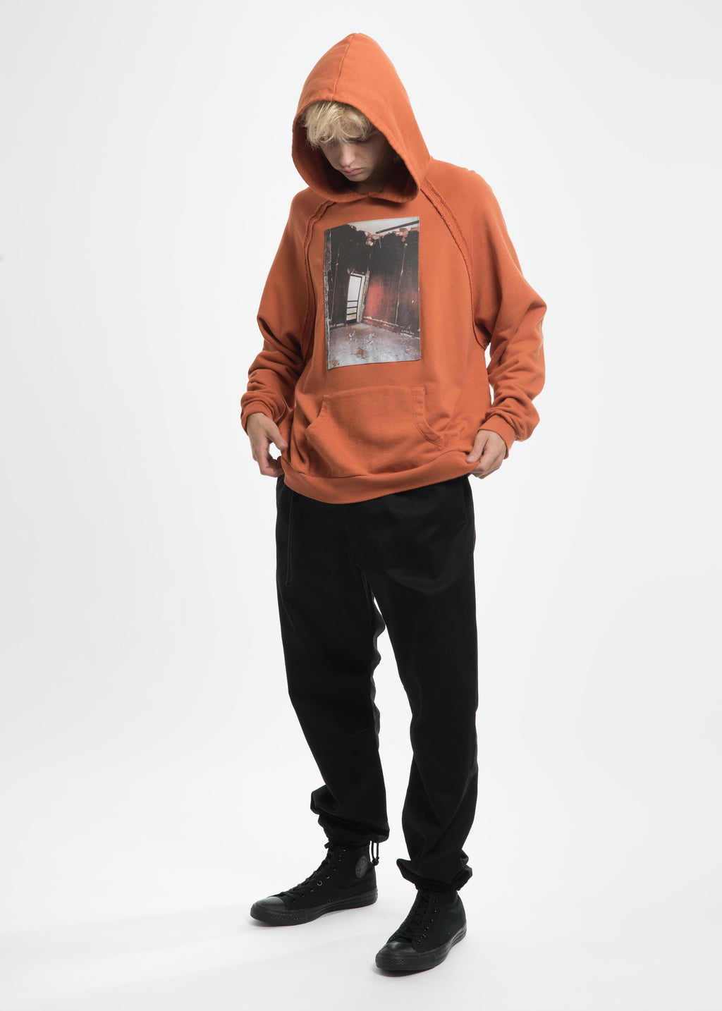 Orange Heavy Jersey Raglan Hoodie with Patch 18
