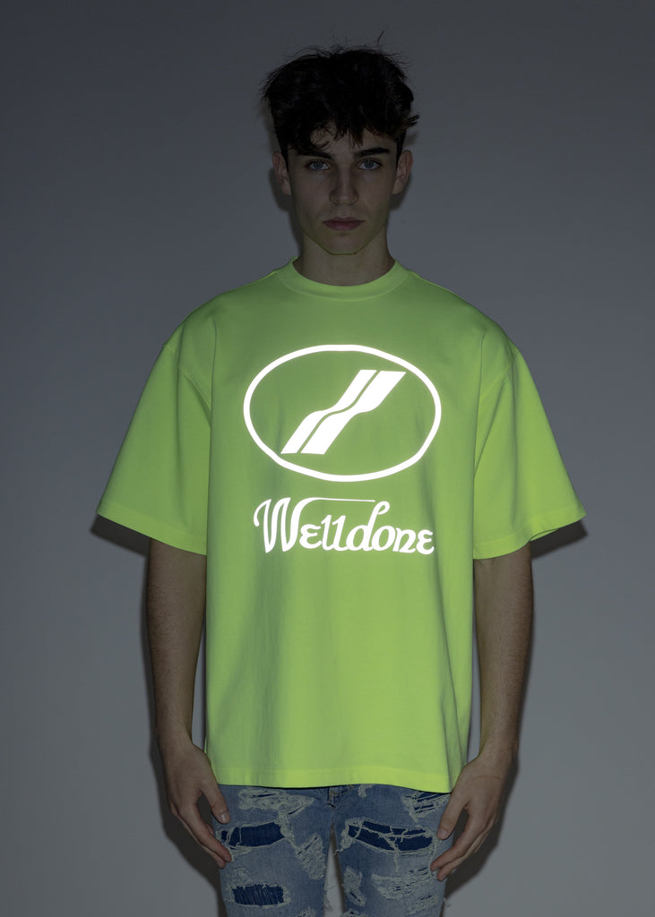 Neon Yellow WE11DONE Reflective Logo T-Shirt