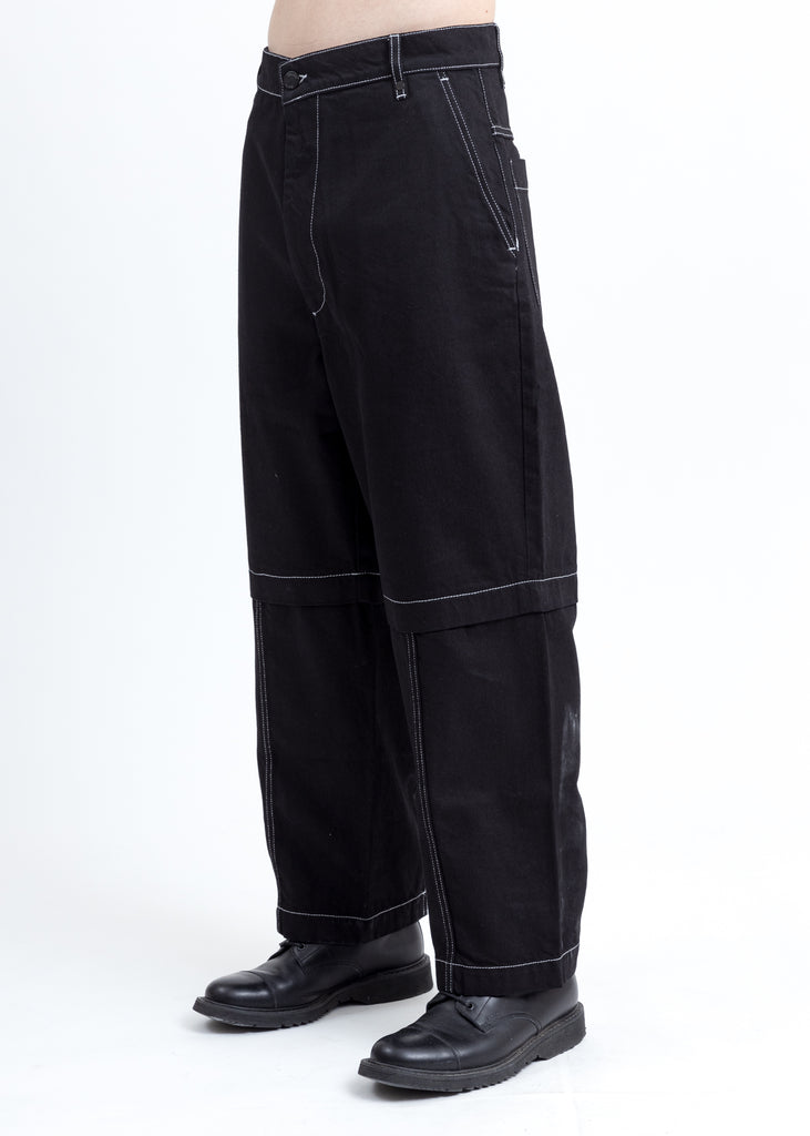 Black Track Contrast Denim Pants