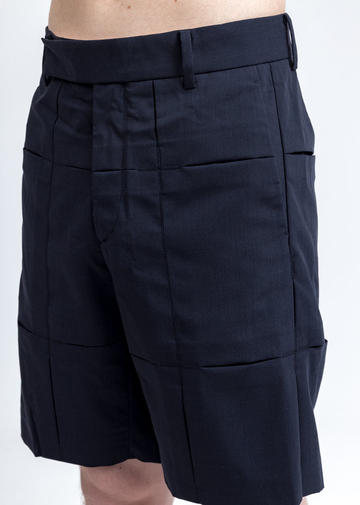 Navy Panelled Short