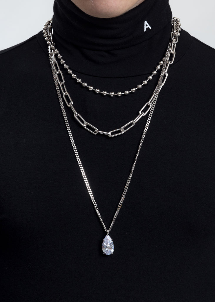 Rhinestone Water Drop Ball Link Necklace