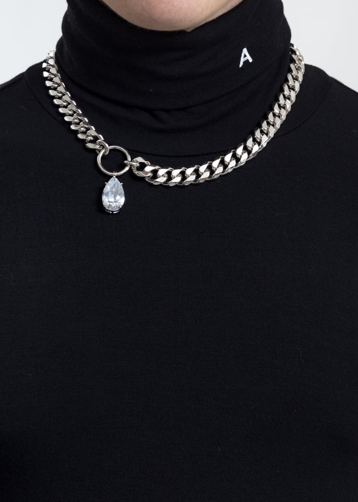 Rhinestone Water Drop Cuba Link Necklace