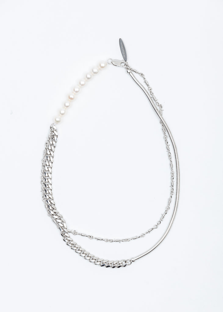 Silver Pearl and Mixed Chain Necklace