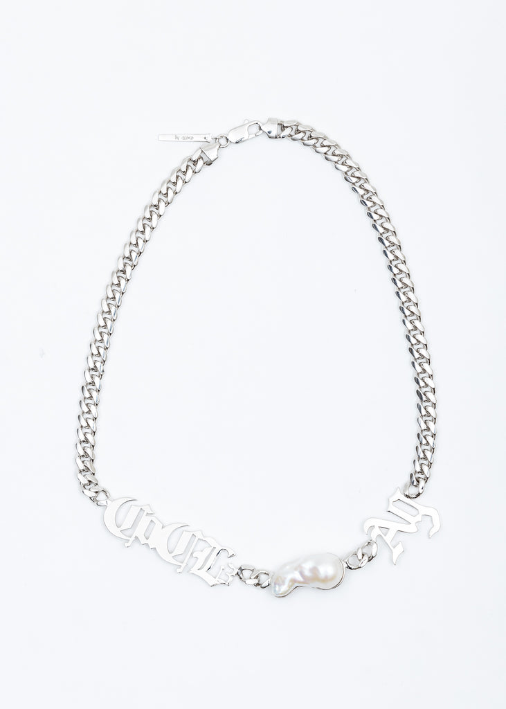 Silver Baroque Pearl Chain Necklace