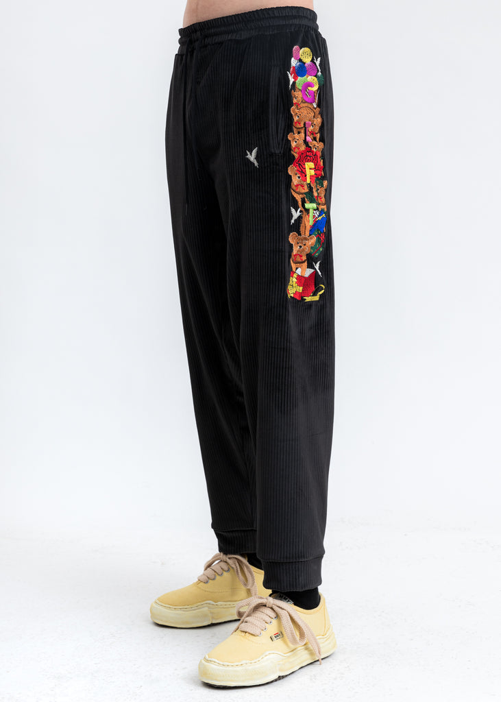 Black Chaos Embroidery Comfy Pants
