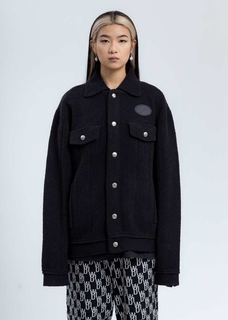 Black Felted Knitted Jacket
