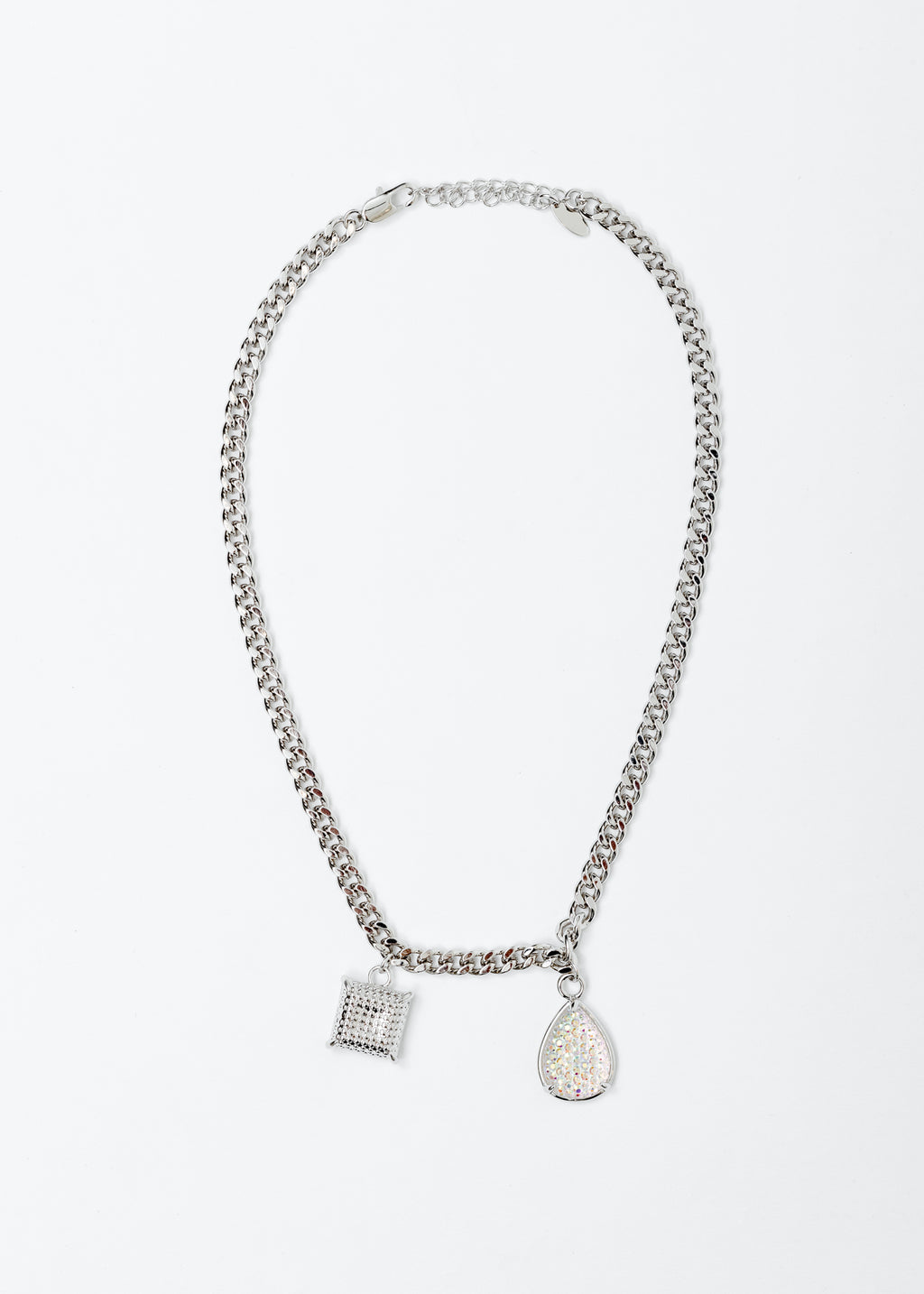White Gold Square And Water Drop Necklace