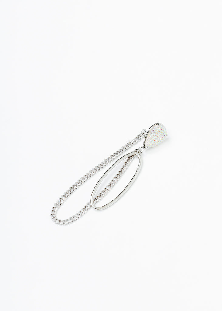 White Gold Drop And Chain Earring