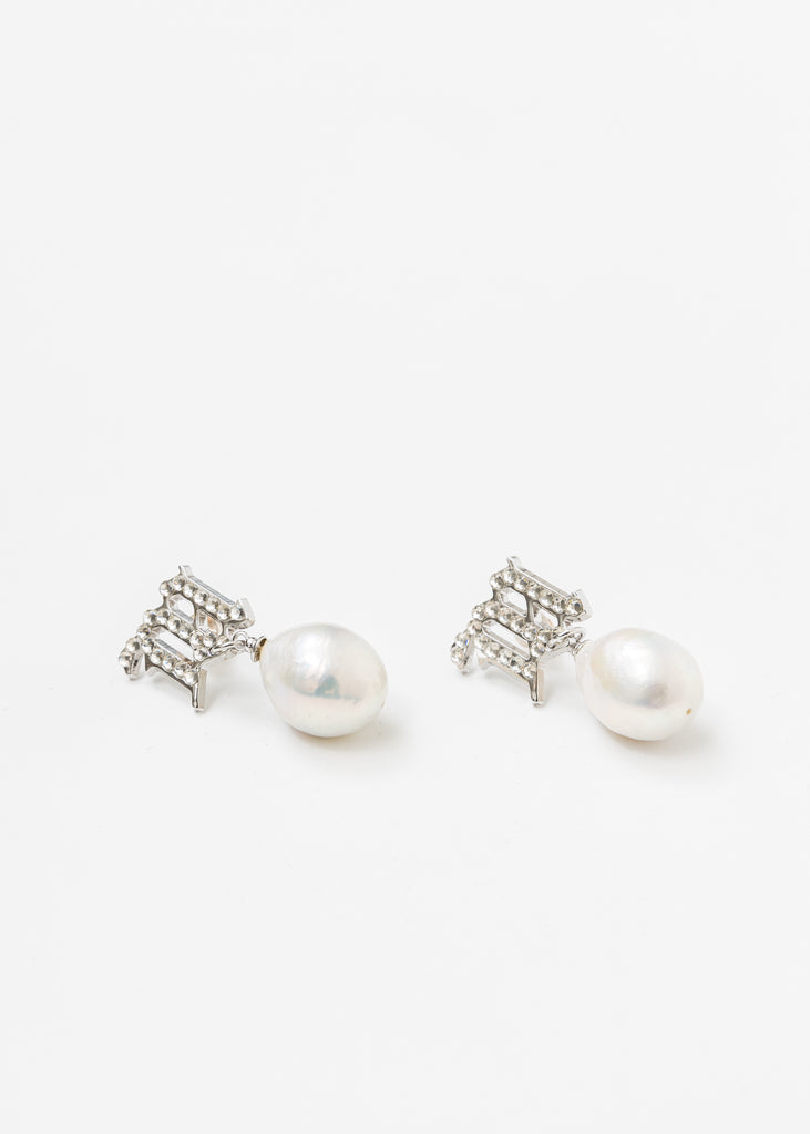 Crystal Monogram Baroque Pearl White Earring (Single)