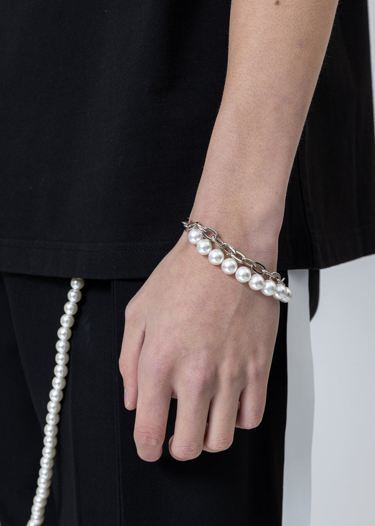 Twisted Chain and White Pearl Bracelet
