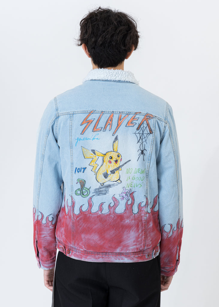 Blue Paint Denim And Sherpa Jacket  -Pokemon, Smurfs