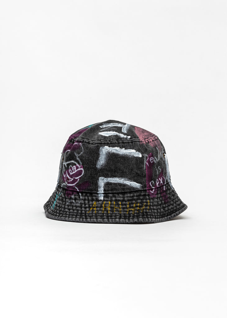 Black Paintd Denim Bucket Hat -Pokemon, Smurfs