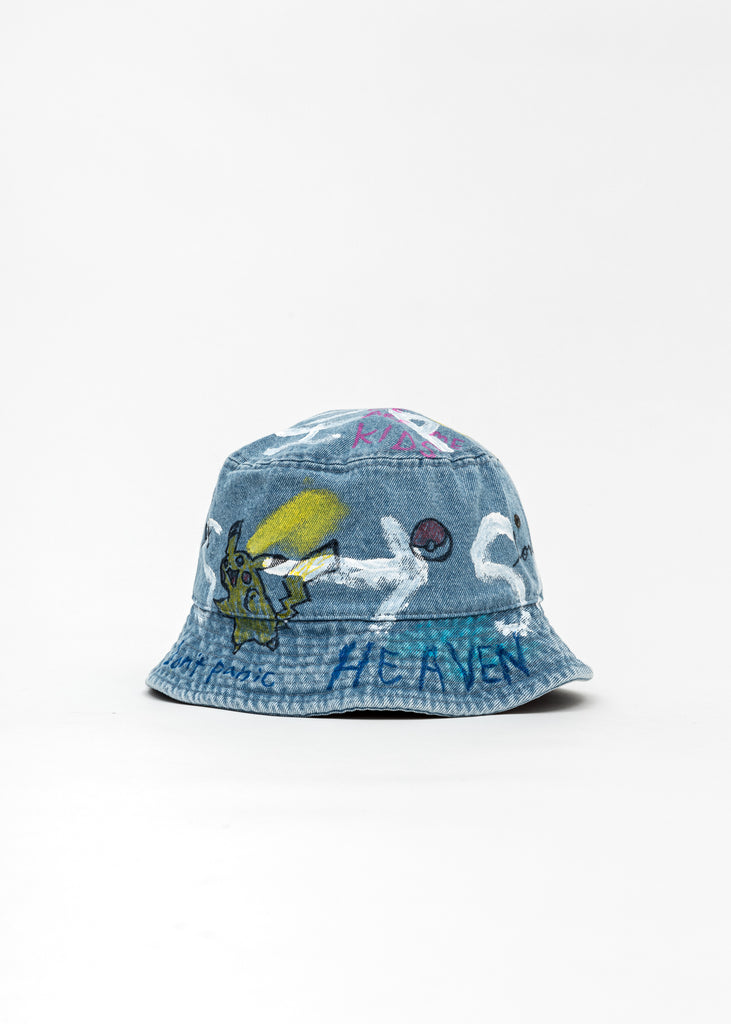 Blue Paintd Denim Bucket Hat -Pokemon, Smurfs