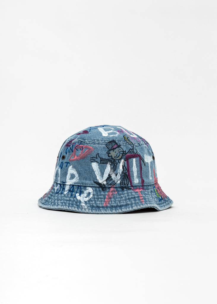 Blue Paintd Denim Bucket Hat -Monopoly,Richie Rich