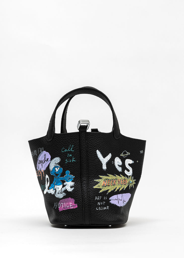 Black Paint Cube Bag (Small) - Pokemon, Smurfs