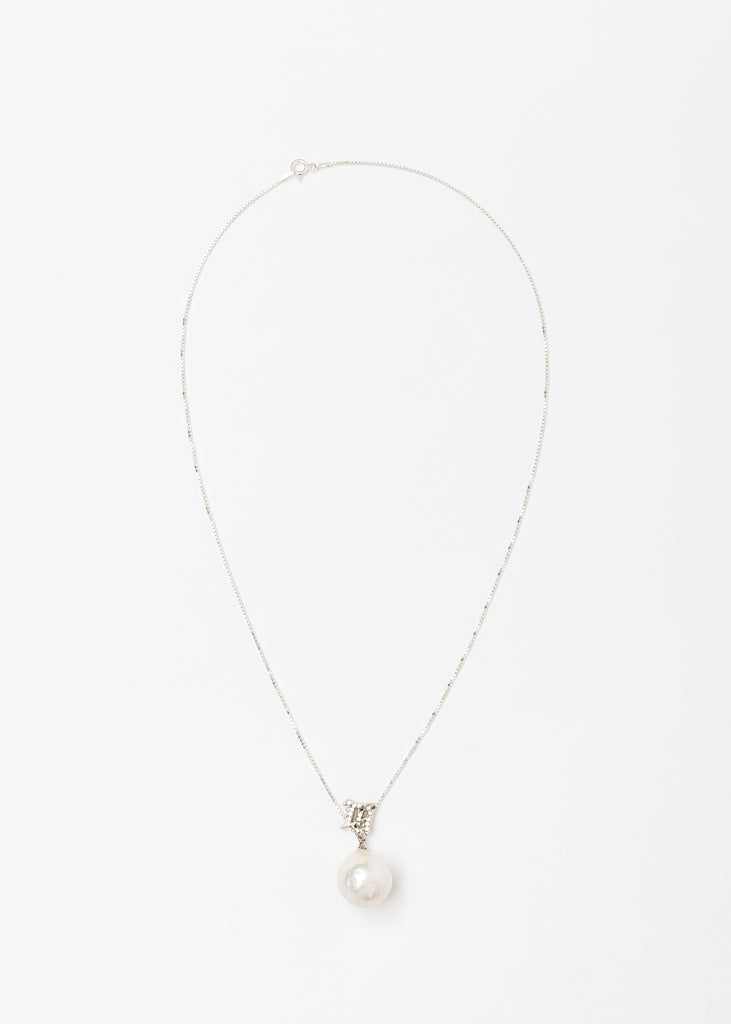 Crystal Monogram Baroque Pearl White Pendant Necklace