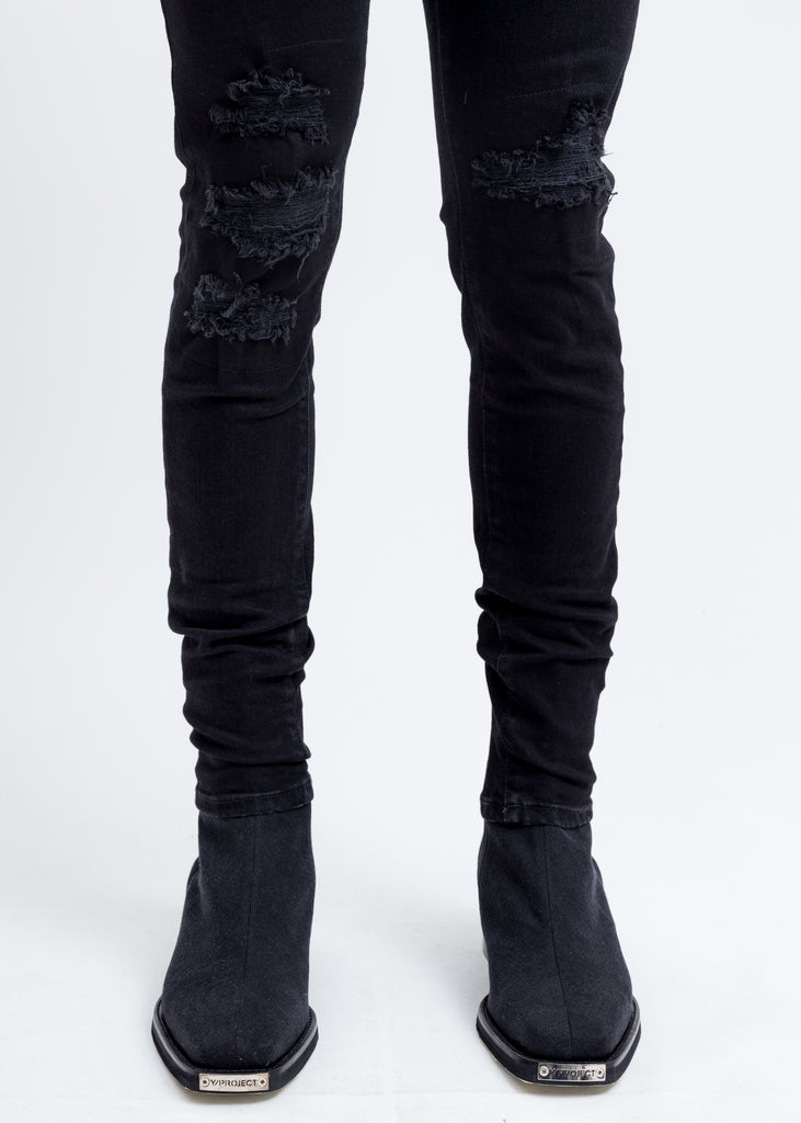 Black Underwork Denim Jeans