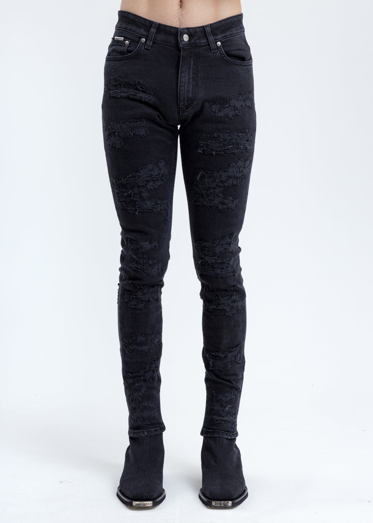 Black Shredded Denim Jeans