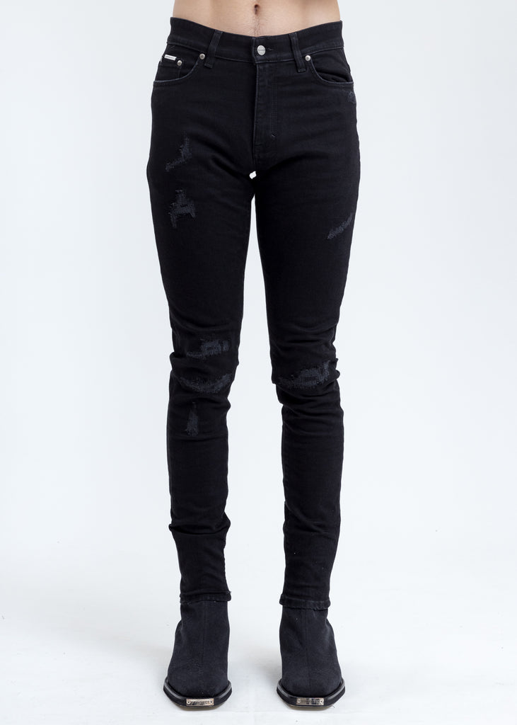 Black Repaired Denim Jeans