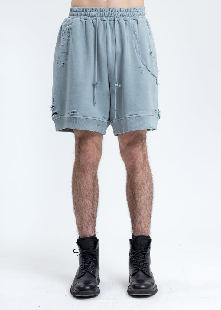 Grey Ruin Distressed Sweat Shorts