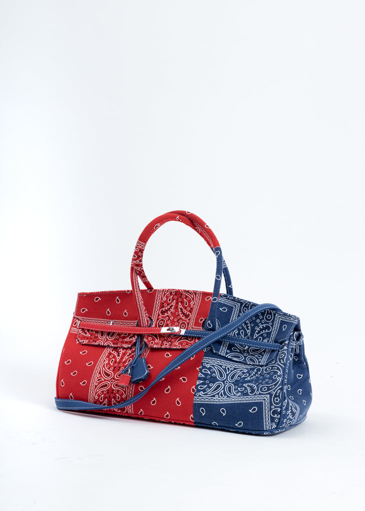 Red And Blue Remade Bandana Bag