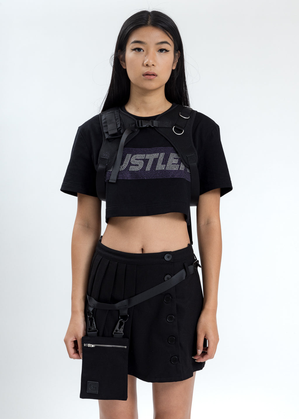 Black Crop T-Shirt With Chest Harness (Crystal)