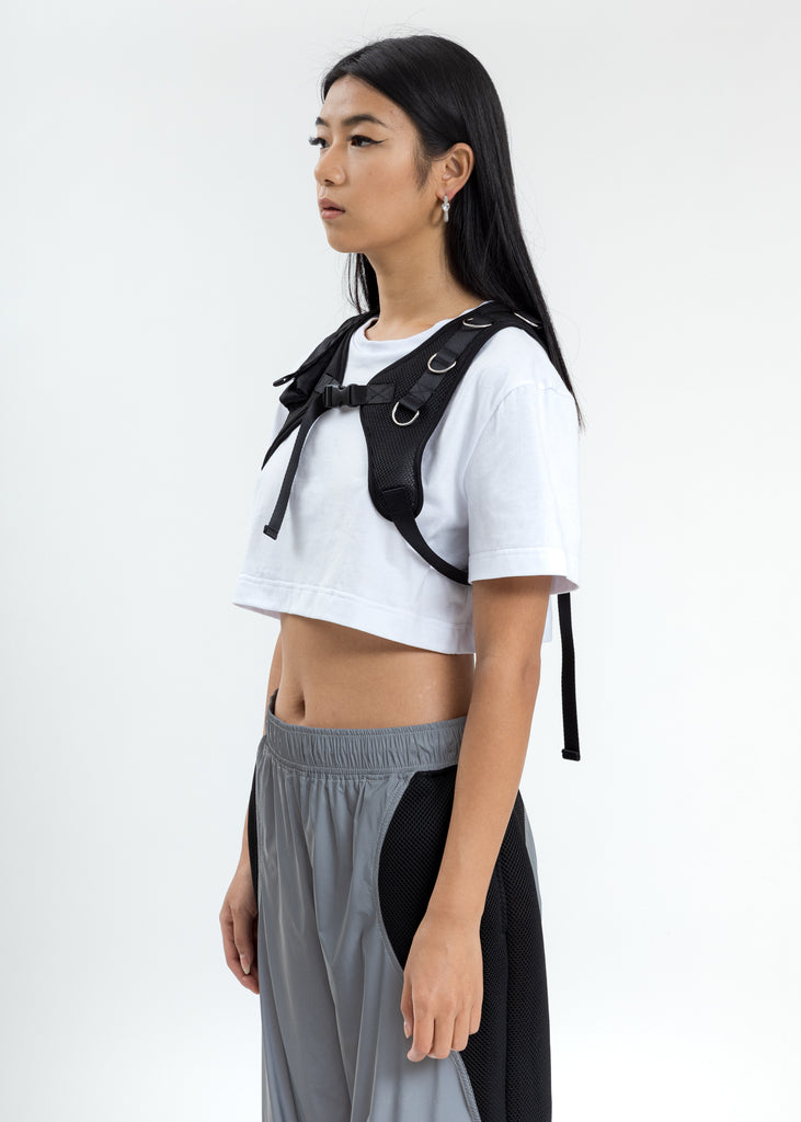 White Crop T-Shirt With Chest Harness