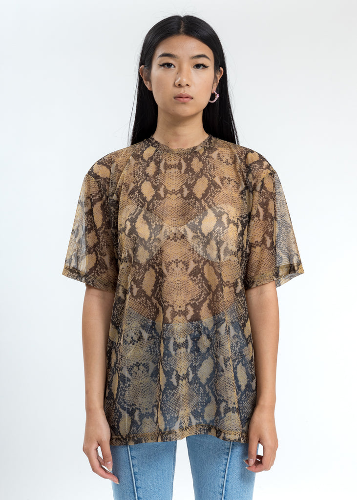 Beige And Black Snake Mesh Arno T-Shirt