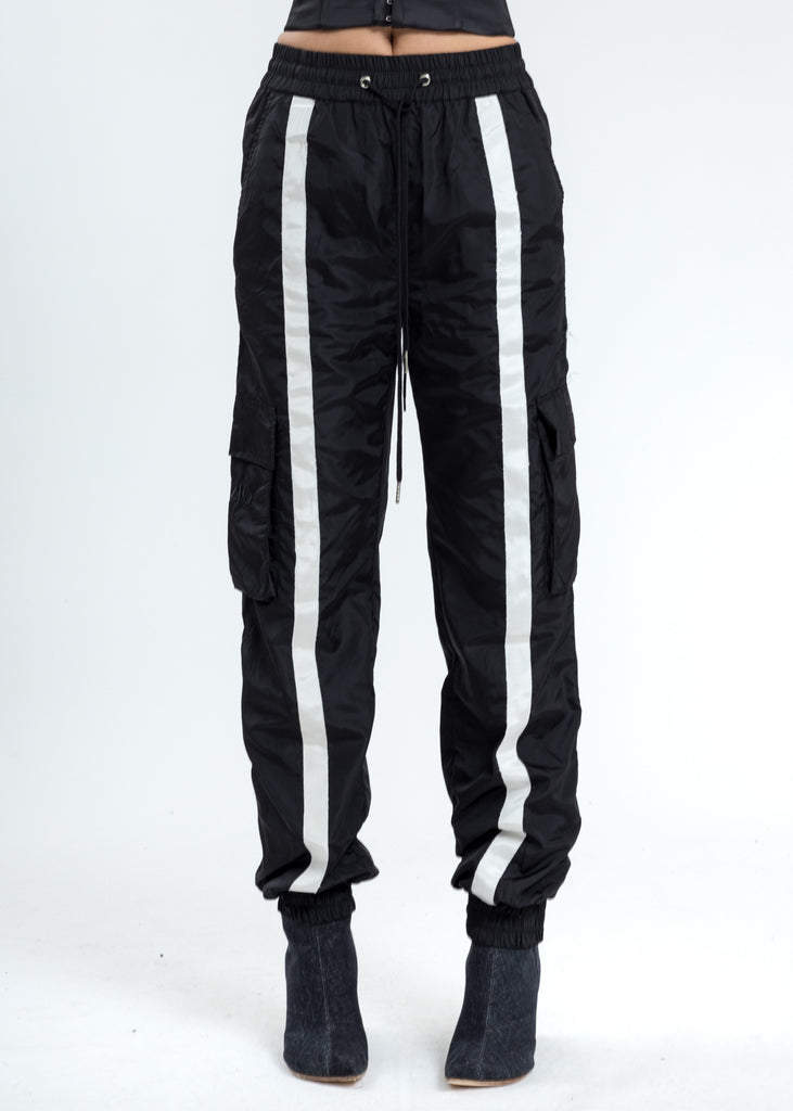 Black Nylon Trackpants
