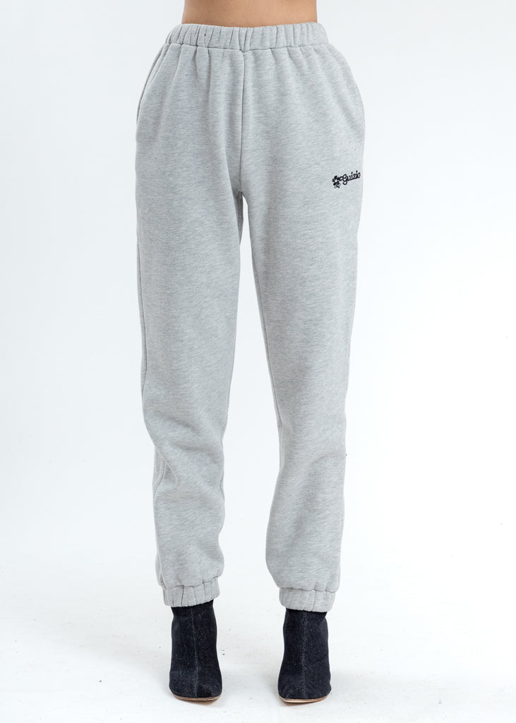 Grey Floral Logo Sweatpants