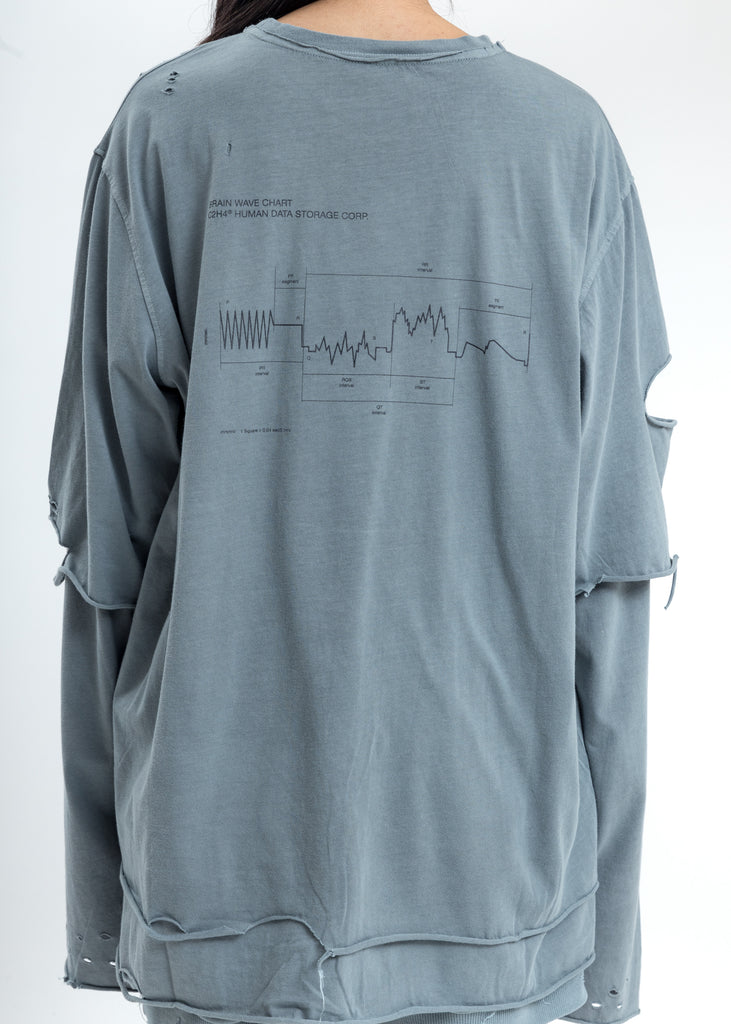 Grey Distressed Double Layer Long Sleeves