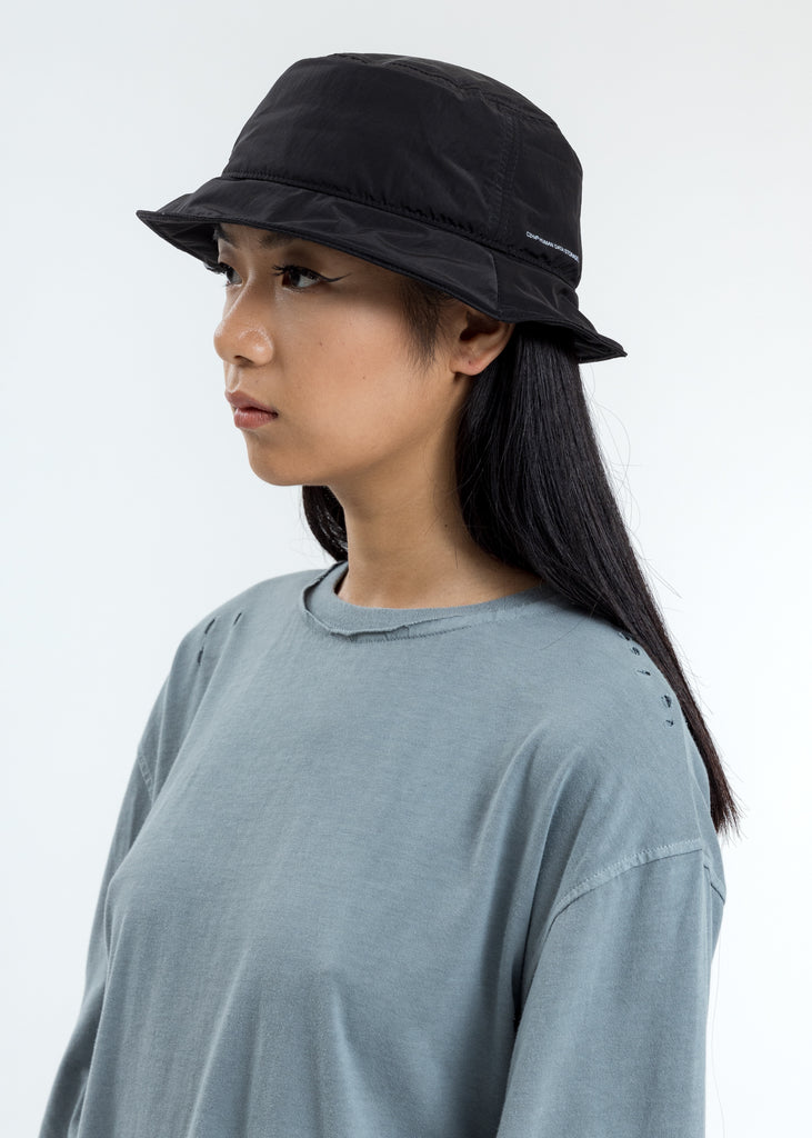 Black Crooked Panelled  Bucket Hat