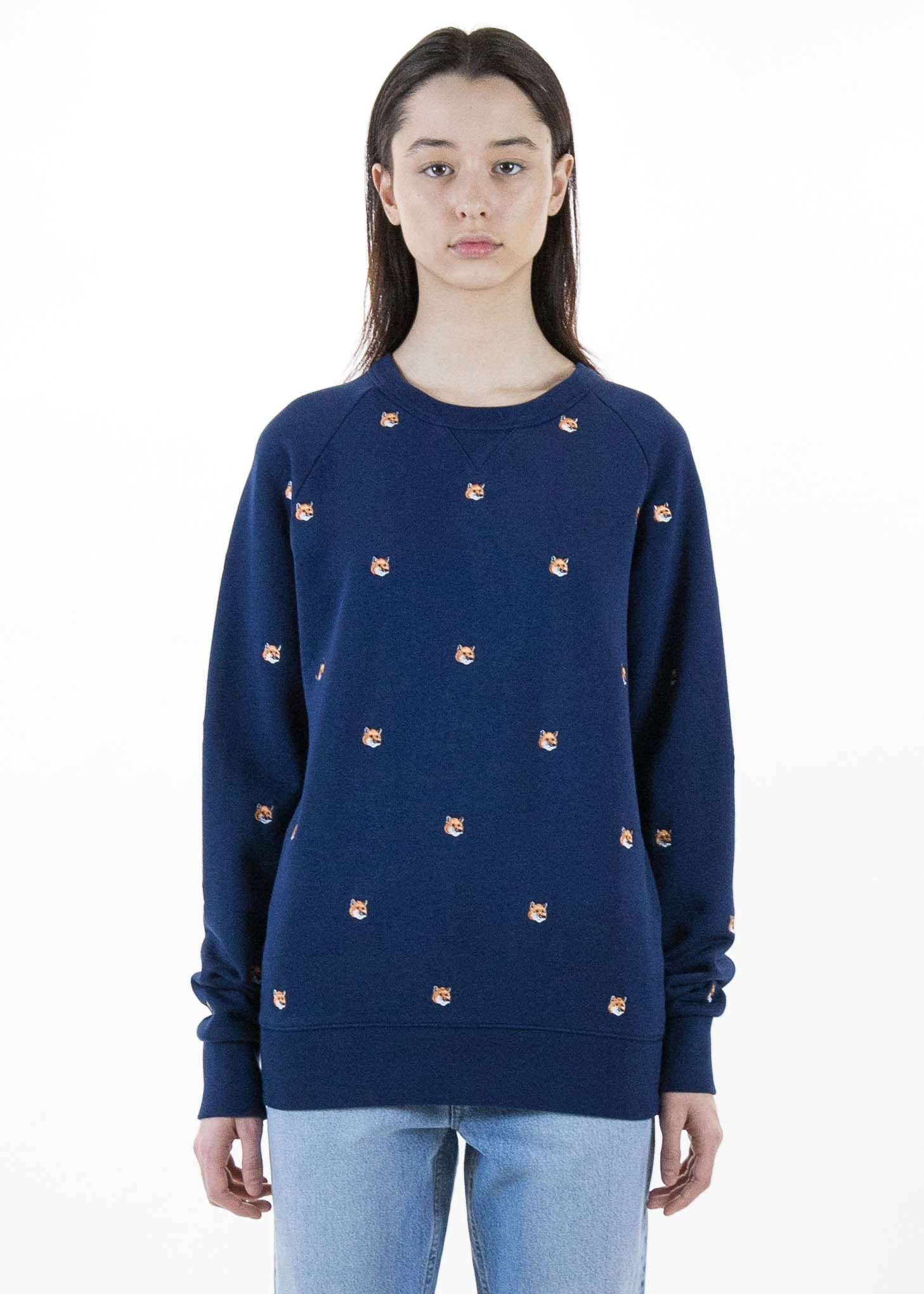 All Over Fox Head Embroidery Sweatshirt