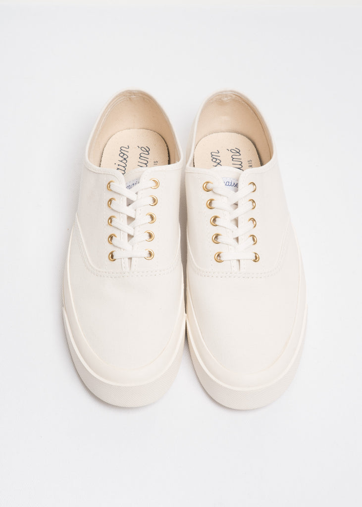 Maison Kitsune, White Laced Sneaker, 017 Shop